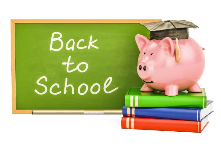 Back to school concept. Piggy bank with books and blackboard, 3D