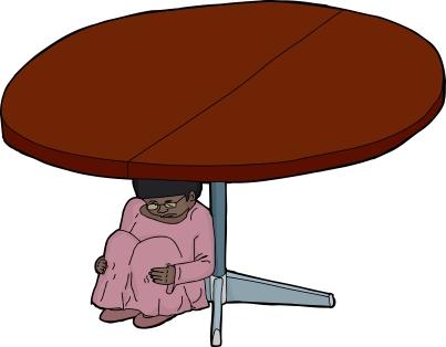 Girl Hiding Under a Table